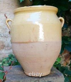 Confit Old Pot Large Provencal Pottery With Yellow Glacier 4,060 Kgs