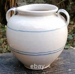Coquette Pot Pottery Fat With Blue Liserets Kitchenware Confit Pot