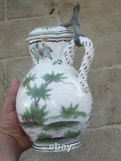 Covered Pitcher In Faience XVIII / 18th 18th Curious Decor Of Characters