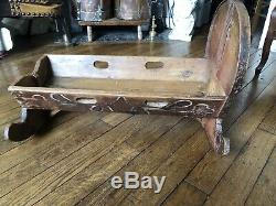 Cradle Old Polychrome Carved Wood Polychrome Folk Art Mountaineer XIX