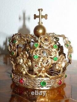 Crown Of Saint Virgin Church Brass Doré & Strass Epoque XIX Antique Crown
