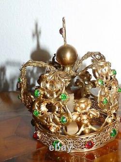 Crown Of Saint Virgin Golden Brass Church - Strass 19th 19th Ancient Crown