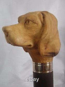 Dog Head Stick Walking Stick Carved French Artist Knob Walking Cane