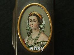 Eben Wood Coffet Eugenie Imperatrice Medallion Handmade Under Glass