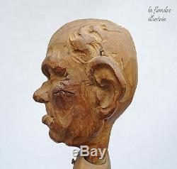 Exceptional Articulated Carved Folk Art Caricature Character
