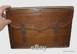 Exceptional Schoolboy Schoolbag 1900 Trompe L'oeil Leather Folk Art