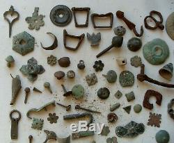 Feudal Merovingian Gaul Roman Royal Nice Lot 85 Bronze And Iron Objects