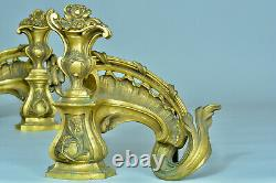 Former Chenet Feu Louis XV Rocaille Vase Bronze Golden Antique Fire Dogs Germain