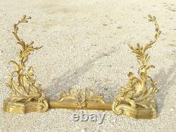 Former Pair De Chenets Barre De Cheminee Style Art Nouveau Bronze XIX Atre