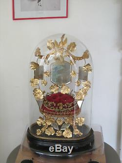 Globe Of Marriage Napoleon III XIX / Square Glass Bell / Wedding Stand Globe