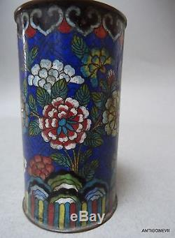 Gorgeous Enamel Brushed Pot Cloisonne, Bitong, Rich Flower Decor China