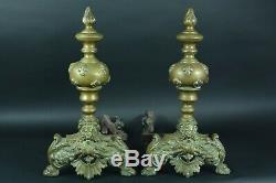 Grand Old Chenet Marmouset Fleurs De Lys Royal Bronze Andirons Fireplace X 2