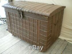 Grand Old Wooden Trunk Covered With Metal Pushed