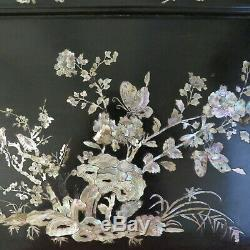 Grand Plateau China And Indochina Old Inlaid Mother Of Pearl Flower & Butterfly