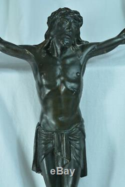 Great Christ Of Former Applies Bronze Signed Jean Ancient Rabiant Large Christ