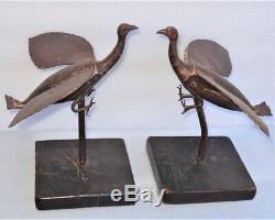 Great Pair Of Wrought Iron Birds 19th