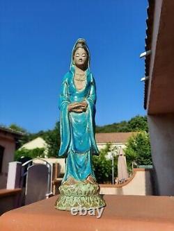 Guan Yin, Terracotta, Turquoise Glaze- China Late 19th Century