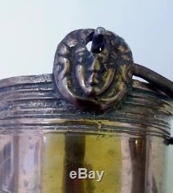 Haute Epoque Brass Tripod Cauldron, Handle With Masks