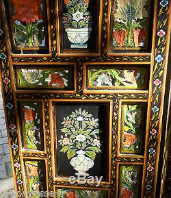 Indian Screen Rajasthan Painted And Hand Carved / Reversible