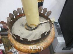 Italian Torchere 18th Gilt Polychrome Wood Griffus Feet Lion 119 CM