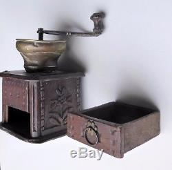 Large Carved Oak Coffee Grinder, State Of Discovery