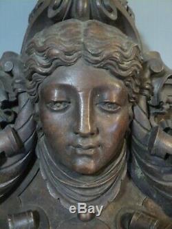 Large Fronton Carved Wood Mask Female Horn Abundance Ornament Antique Furniture