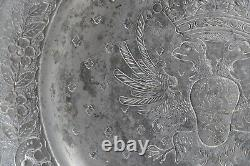 Large Tin Dish With Coat Of Arms Decorations Early 19th Century