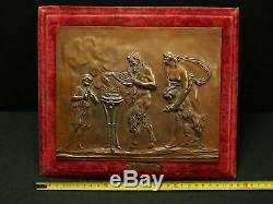 Lead Copper Plate Art Scene 19th Mythological Satyr Sacrifice Of Wildlife
