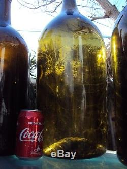 Lot Of Four Big Bottles Of Blown Glass Wine 18/19