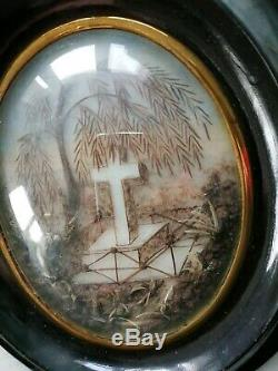 Lreliquaire Framework XIX With Tomb Cross Tree In Black Glass Frame Hair Bomb