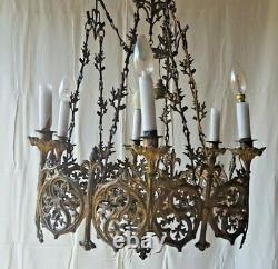 Lustre Church Bronze Brass Lily Flower The Heavenly Jerusalem XIX 6 Lights