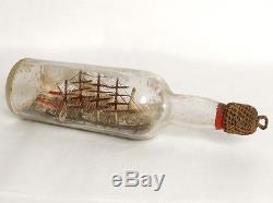 Model Boat 4 Masts Bottle Diorama Village Lighthouse Tug Ship Nineteenth