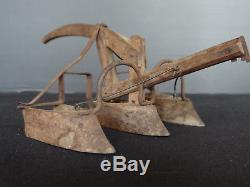 Model Maitrise Plow Wood Sculptee Hand Folk Art Mate (c510)