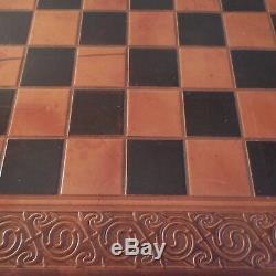 N1993 Chess Tea Lady Handmade Handmade Chess Game Ludo Tray Leather France