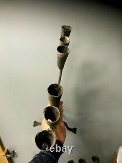 N1 Pair Candlesticks Holders Wrought Iron Haute Epoque XVIII È Iron Candlestick