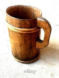 N ° 1 Old Wooden Pitcher / Fir Pitcher / Folk Art / Deco Cottage Nineteenth