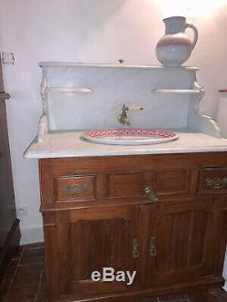 Nice Furnished Sink Toilet Pitch Pine And White Marble Creil Montereau