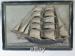 Nice Old Boat Diorama Portrait Wood Lacquer Folk Art Ex Voto XIX