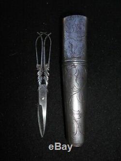 Nice Pair Of Scissors With Case Iron Tool Old Folk Art XVIII