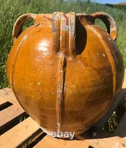 Oil Jar, 18th Century Pottery In Varnished Terracotta, Orange-yellow Wood