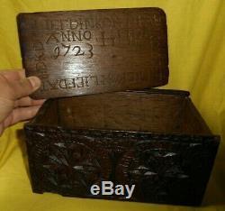 Old Box 1723 18th XVIII 18th Dutch Old Folk Art Box Holland