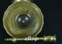 Old Bronze Candlestick Turkish Ottoman Era High Stamped Candelstick