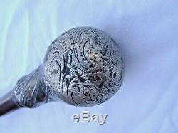 Old Cane Spanish Guy Was Mahogany, Round Pommel Engraved Decoration