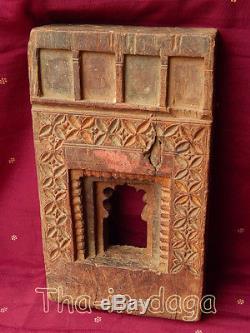 Old Frame Moucharabieh Teck Sculpte 1,2kg 16x27x4,5cm Khidki India 23