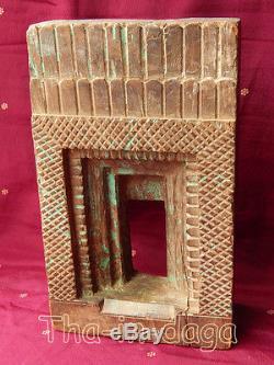 Old Frame Moucharabieh Teck Sculpte 1,7kg 16x27x6,5cm Khidki India 24