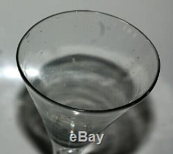 Old Glass Drinking Glass Soufflé Shape Cornet Leg Bubble Air XVIII