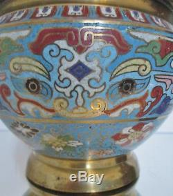 Old Great Cache Pot / Vase Bronze Enamel Chinese Chinese Chinese Turquoise