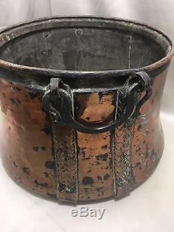 Old Large Chaudron Copper Handle Pot Stew Pot 30 Liters
