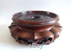 Old Large Chinese Pedestal Carved China 20th # 3
