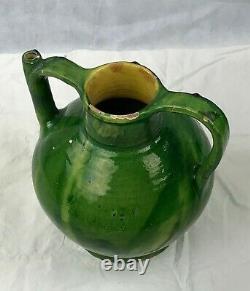 Old Orjol, Jarre, Terracotta Green Glazed South West XIX Ème 32 CM